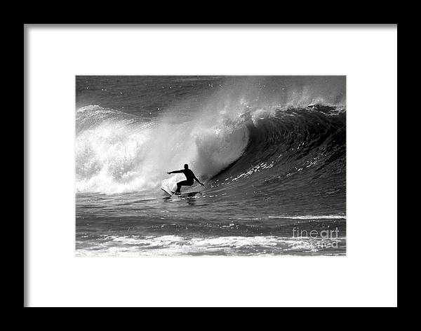 Black And White Framed Print featuring the photograph Black And White Surfer by Paul Topp