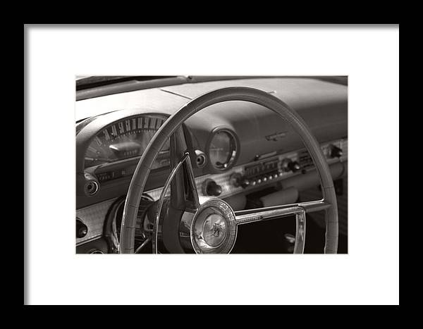 Black And White Photography Framed Print featuring the photograph Black And White Thunderbird Steering Wheel by Heather Kirk