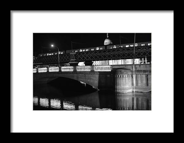 Water Framed Print featuring the photograph Black And White Train by James Fitzpatrick