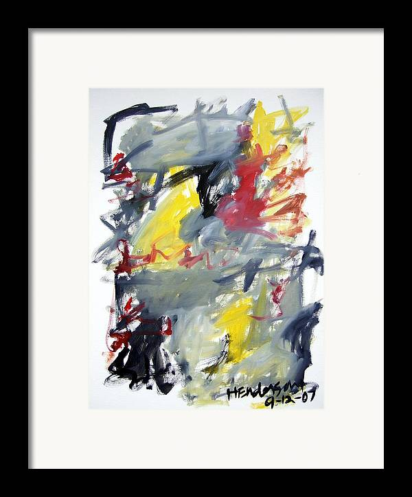 Abstract Framed Print featuring the painting Black And Yellow Abstract by Michael Henderson