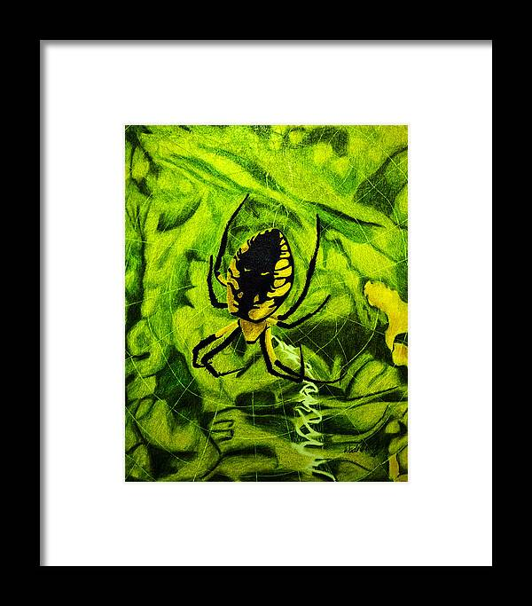 Nature Framed Print featuring the painting Black And Yellow Agriope by Wade Clark