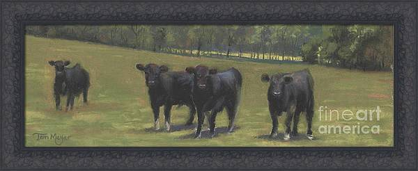 Black Angus Cow Painting Framed Print featuring the painting Black Angus Buddies by Terri Meyer