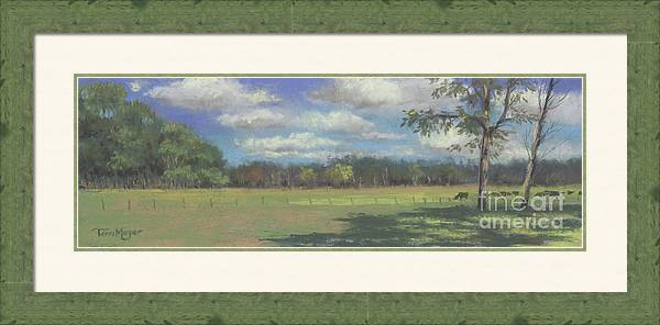 Country Landscape Framed Print featuring the painting Black Angus Strolling Through The Pasture by Terri Meyer