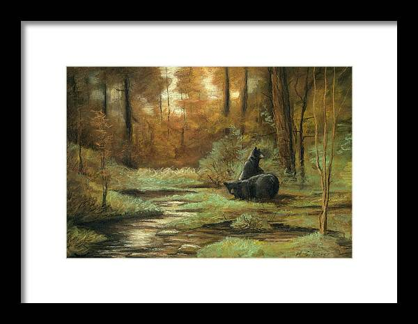 Wildlife Drawing Framed Print featuring the drawing Black Bear - Autumn by Michael Scherer
