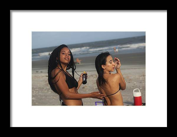 Ebony Framed Print featuring the photograph Black Bikinis 52 by Christopher White
