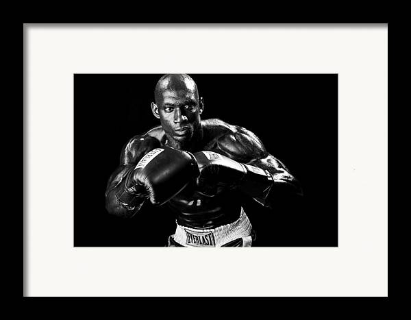Boxer Framed Print featuring the photograph Black Boxer In Black And White 07 by Val Black Russian Tourchin