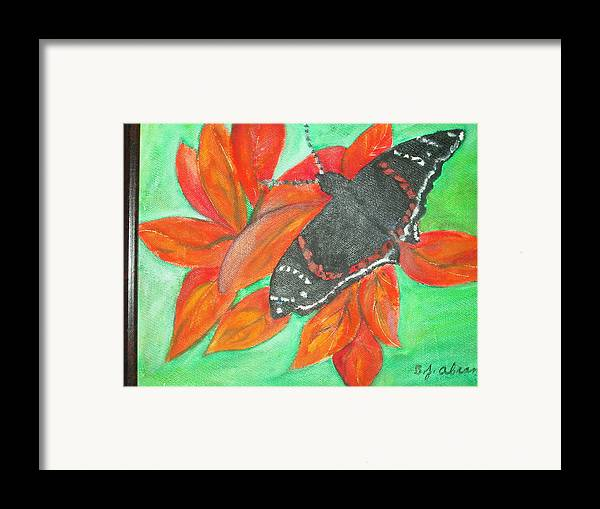 Abstract Framed Print featuring the painting Black Butterfly by Betty Abrams