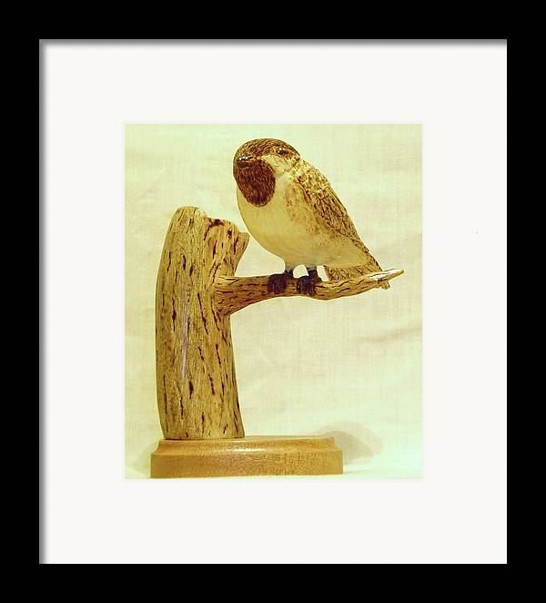Woodcarving Framed Print featuring the sculpture Black-capped Chickadee by Russell Ellingsworth