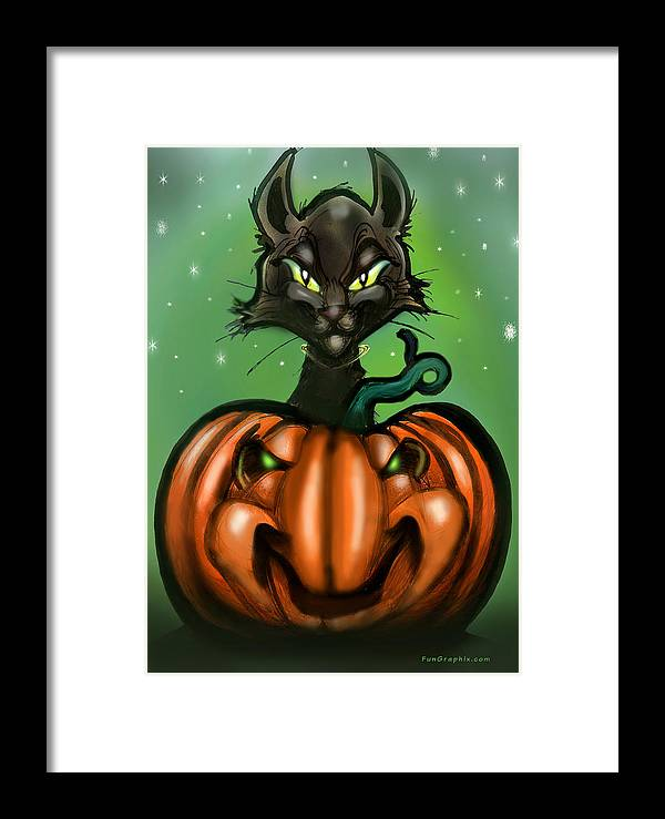 Halloween Framed Print featuring the greeting card Black Cat N Pumpkin by Kevin Middleton
