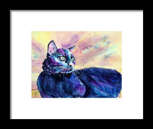 Cat Framed Print featuring the painting Black Cutie by Carrie McKenzie
