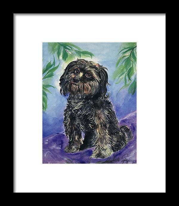 Pet Portraits Framed Print featuring the painting Black Dog by Michelle Spiziri