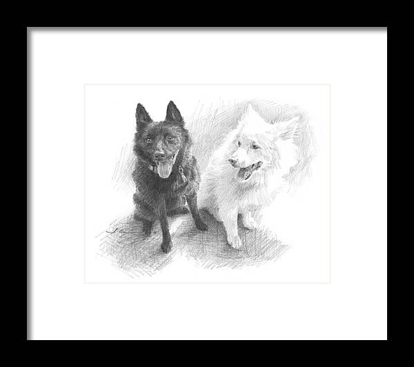 Www.miketheuer.com Black Dog White Dog Drawing Framed Print featuring the drawing Black Dog White Dog Drawing by Mike Theuer