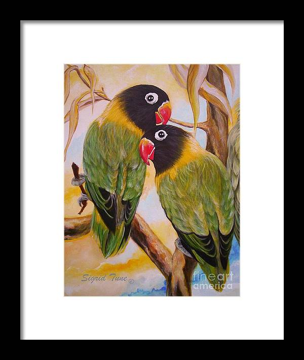 Love Birds Framed Print featuring the painting Black Faced Love Birds. Chloe The Flying Lamb Productions by Sigrid Tune