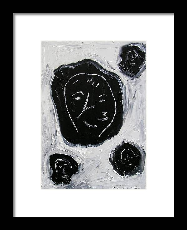 Faces Black Framed Print featuring the painting Black Faces by Harris Gulko
