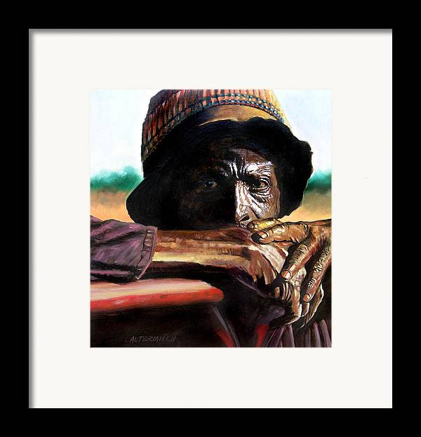 Black Farmer Framed Print featuring the painting Black Farmer by John Lautermilch