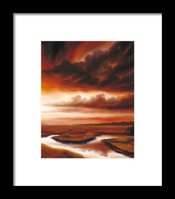 Contemporary Framed Print featuring the painting Black Fire by James Christopher Hill
