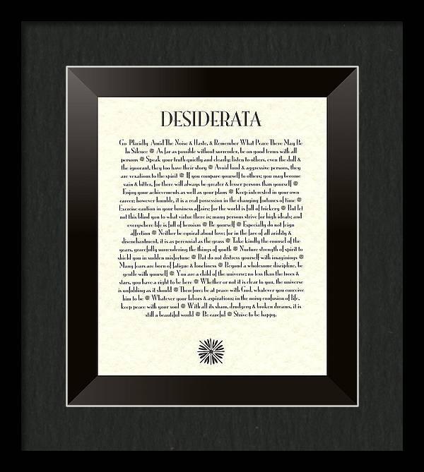 Black Border Sunburst DESIDERATA Poem by Desiderata Gallery