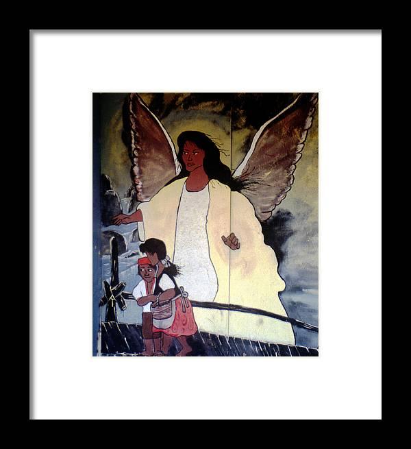 Louisiana Framed Print featuring the photograph Black Guardian Angel Mural by Doug Duffey