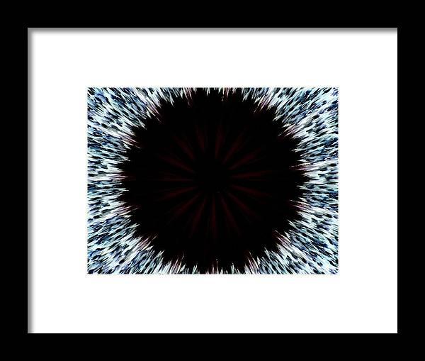 Eye Blue Black Framed Print featuring the digital art Black Hole by Bethwyn Mills