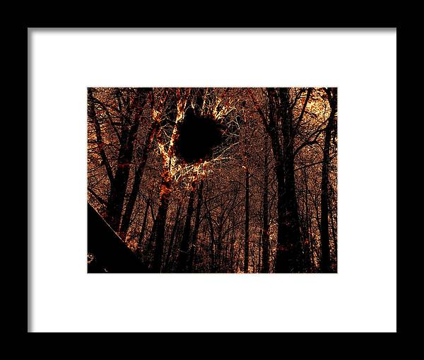 Fire Framed Print featuring the photograph Black Hole Sun by Charleen Treasures