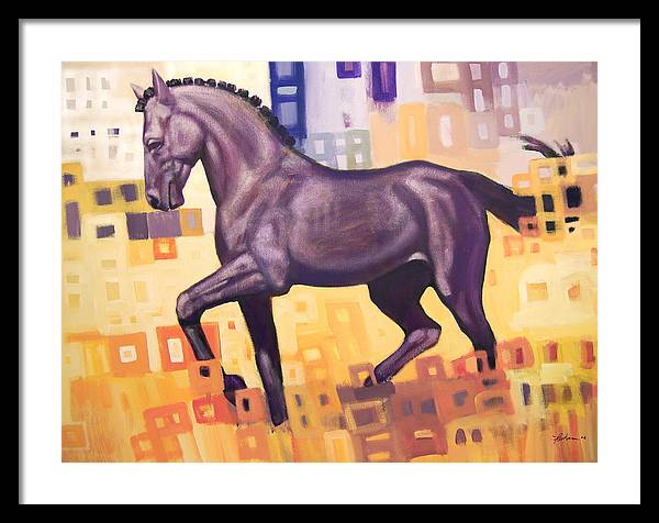 Horse Framed Print featuring the painting Black Horse by Farhan Abouassali