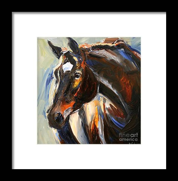 Black Horse Framed Print featuring the painting Black Horse Oil Painting by Maria Reichert