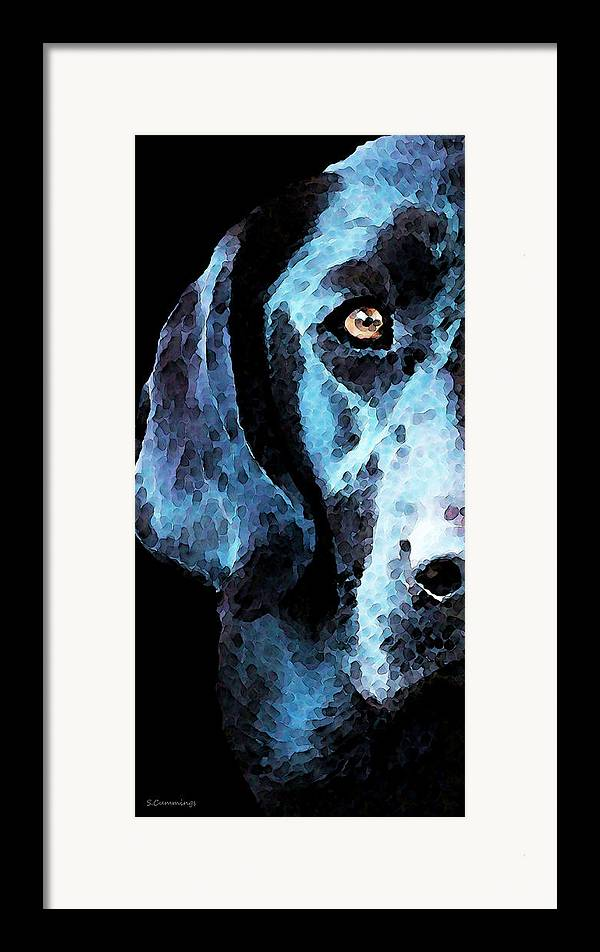 Labrador Retriever Framed Print featuring the painting Black Labrador Retriever Dog Art - Hunter by Sharon Cummings