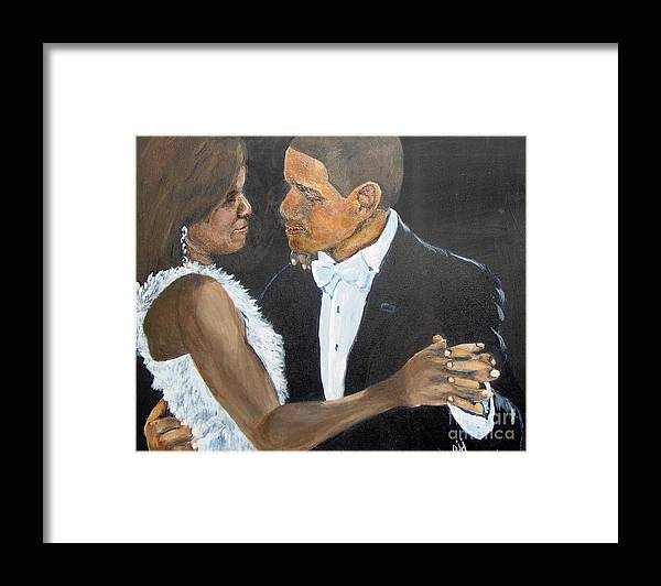 Barack Obama Framed Print featuring the painting Black Love is Black Power by Saundra Johnson