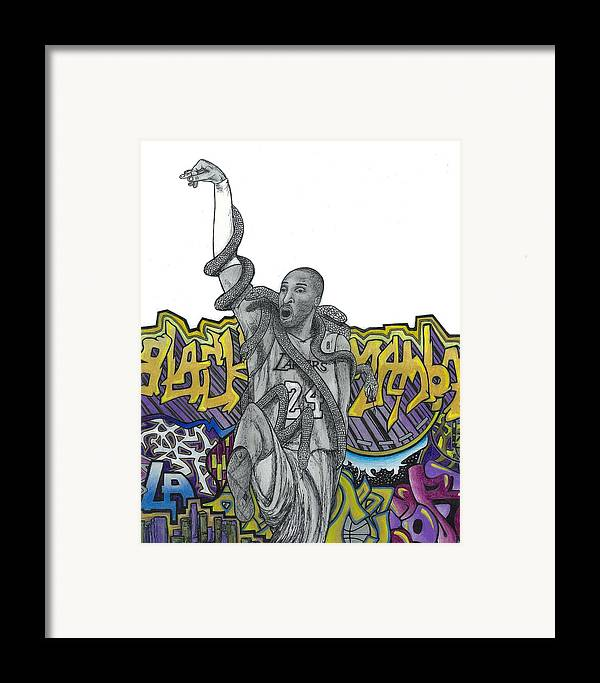 Kobe Bryant Framed Print featuring the drawing Black Mamba by Steve Weber