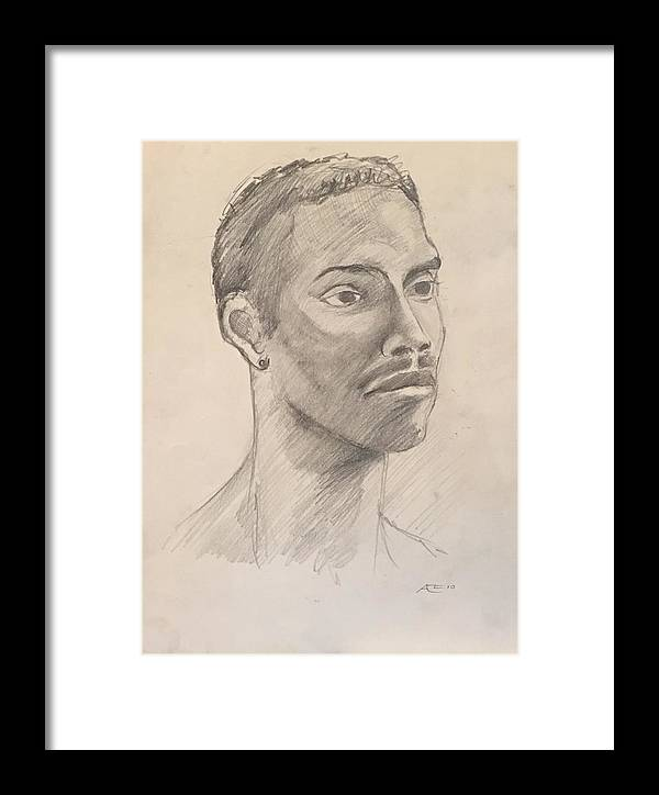 Framed Print featuring the drawing Black Man With Earing by Alejandro Lopez-Tasso