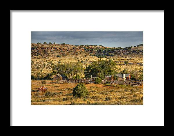 Black Mesa Framed Print featuring the photograph Black Mesa Ranch by Charles Warren