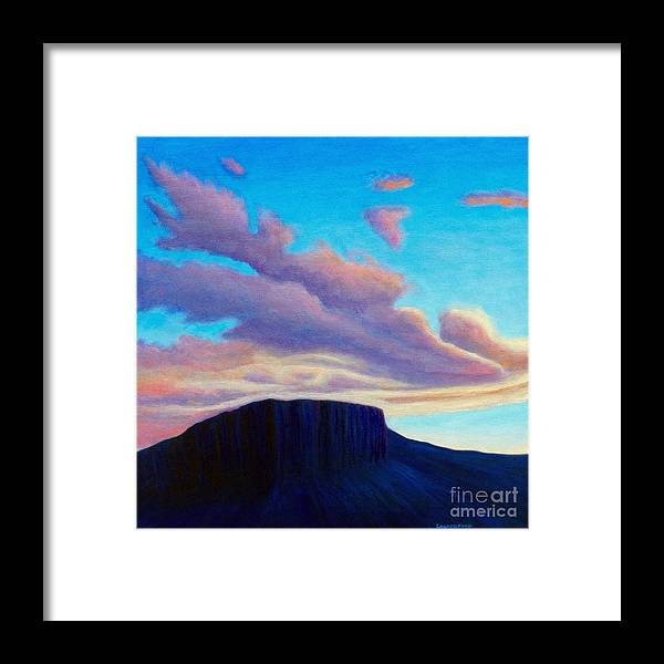 Landscape Framed Print featuring the painting Black Mesa Sunset by Brian Commerford