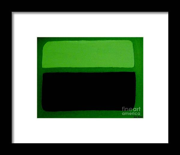 Painting Framed Print featuring the painting Black On Dark Green And Medium Green by Marsha Heiken