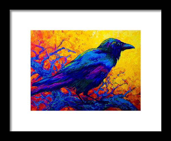 Crows Framed Print featuring the painting Black Onyx - Raven by Marion Rose