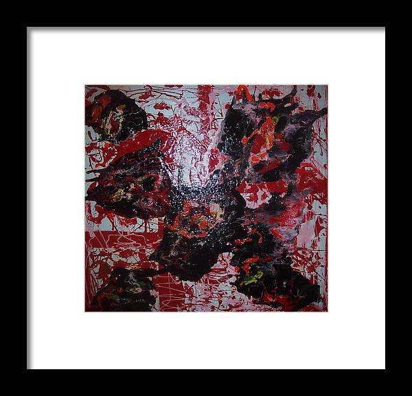 Art Framed Print featuring the painting black Out by HollyWood Creation By linda zanini