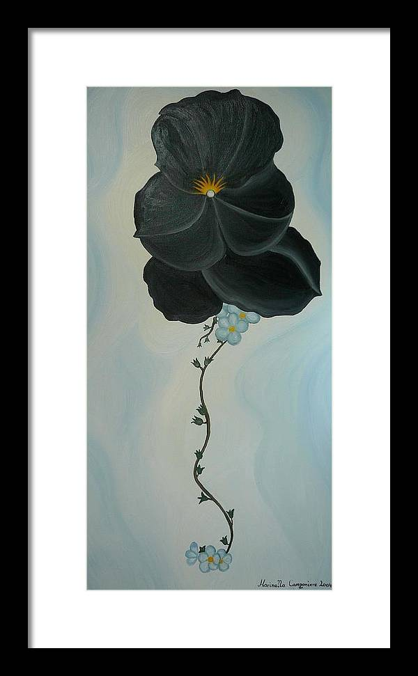 Marinella Owens Framed Print featuring the painting Black Pansi by Marinella Owens