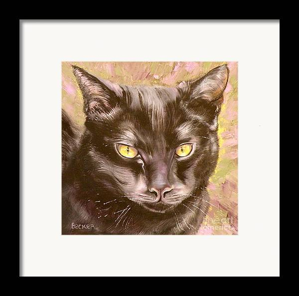 Cat Framed Print featuring the painting Black Pearl by Susan A Becker