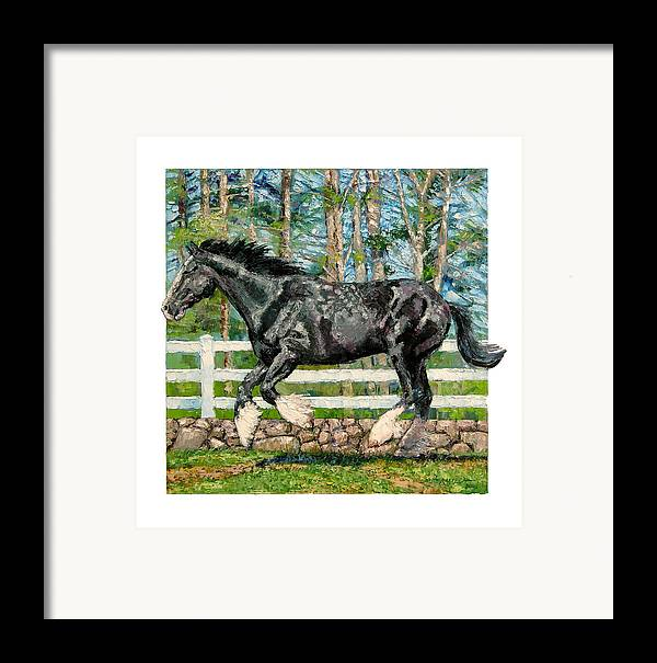 Horse Framed Print featuring the painting Black Power by John Lautermilch