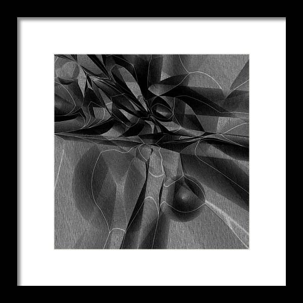 Abstract Framed Print featuring the digital art Black Ridge by Carl Perry