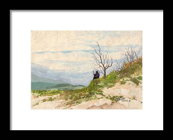 Robe Framed Print featuring the painting Black Robe by Steve Mountz