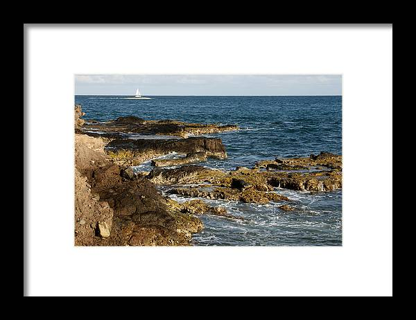 Sailboat Framed Print featuring the photograph Black Rock Point And Sailboat by Jean Macaluso