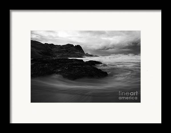Beach Framed Print featuring the photograph Black Rock Swirl by Mike Dawson