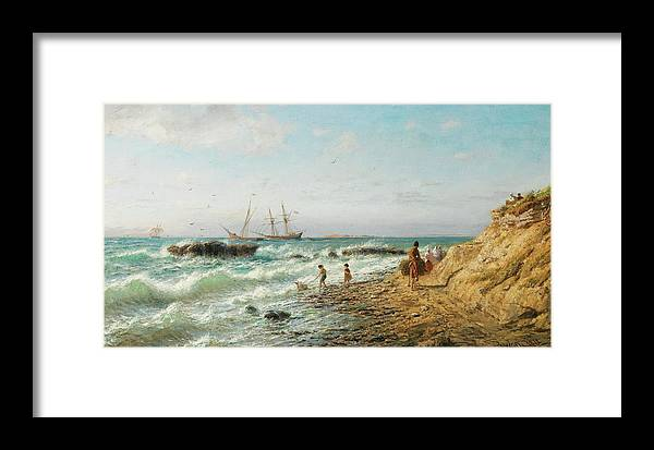 Lev Feliksovich Lagorio 1827-1905 Black Sea Coast Framed Print featuring the painting Black Sea Coast by Lev Feliksovich