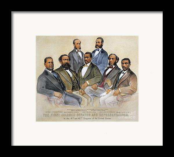 -acts & Administrations- Framed Print featuring the photograph Black Senators, 1872 by Granger