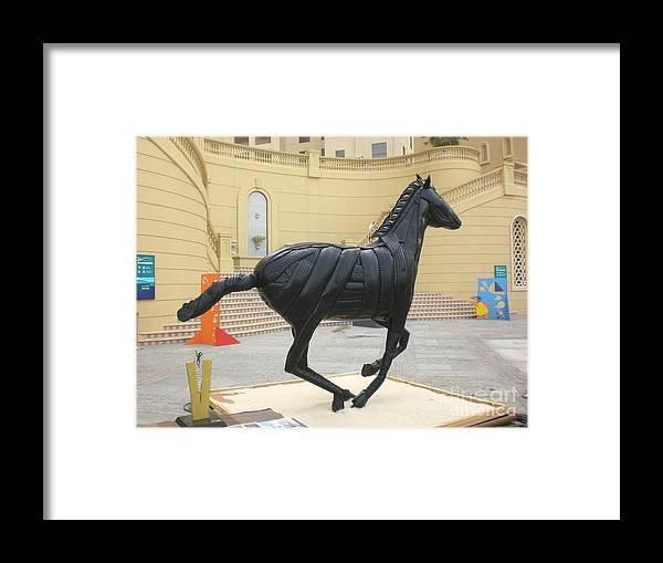 Horse Framed Print featuring the sculpture Black Stalion Tyre Sculpture by Mo Siakkou-Flodin