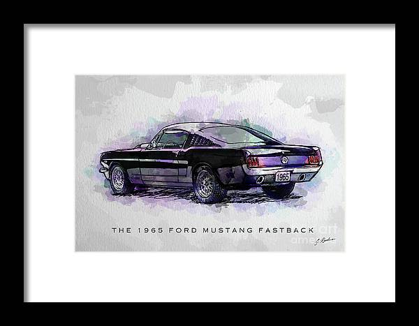Ford Mustang Framed Print featuring the digital art Black Stallion 1965 Ford Mustang Fastback by Gary Bodnar