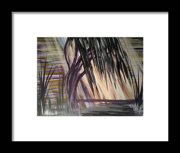 Tree Framed Print featuring the painting Black Swamp by Kelly Carpenter