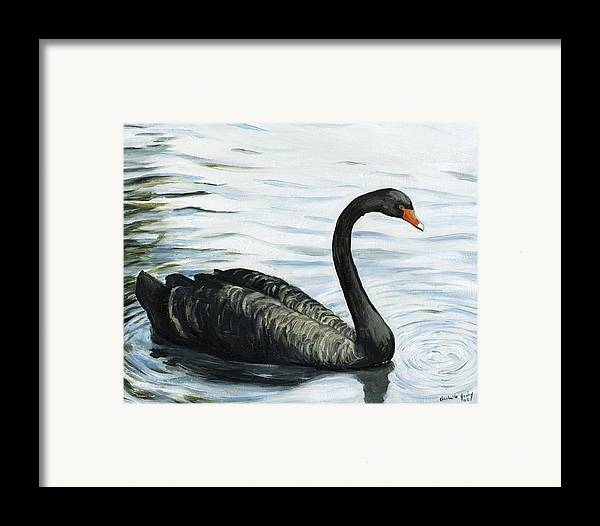 Black Swan Framed Print featuring the painting Black Swan by Charlotte Yealey