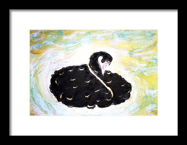 Swan Framed Print featuring the painting Black Swan by Michela Akers