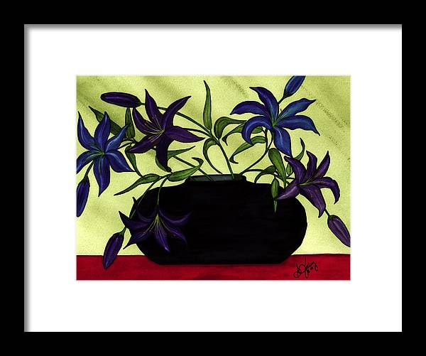 Black Vase Framed Print featuring the painting Black Vase with Lilies by Stephanie Jolley